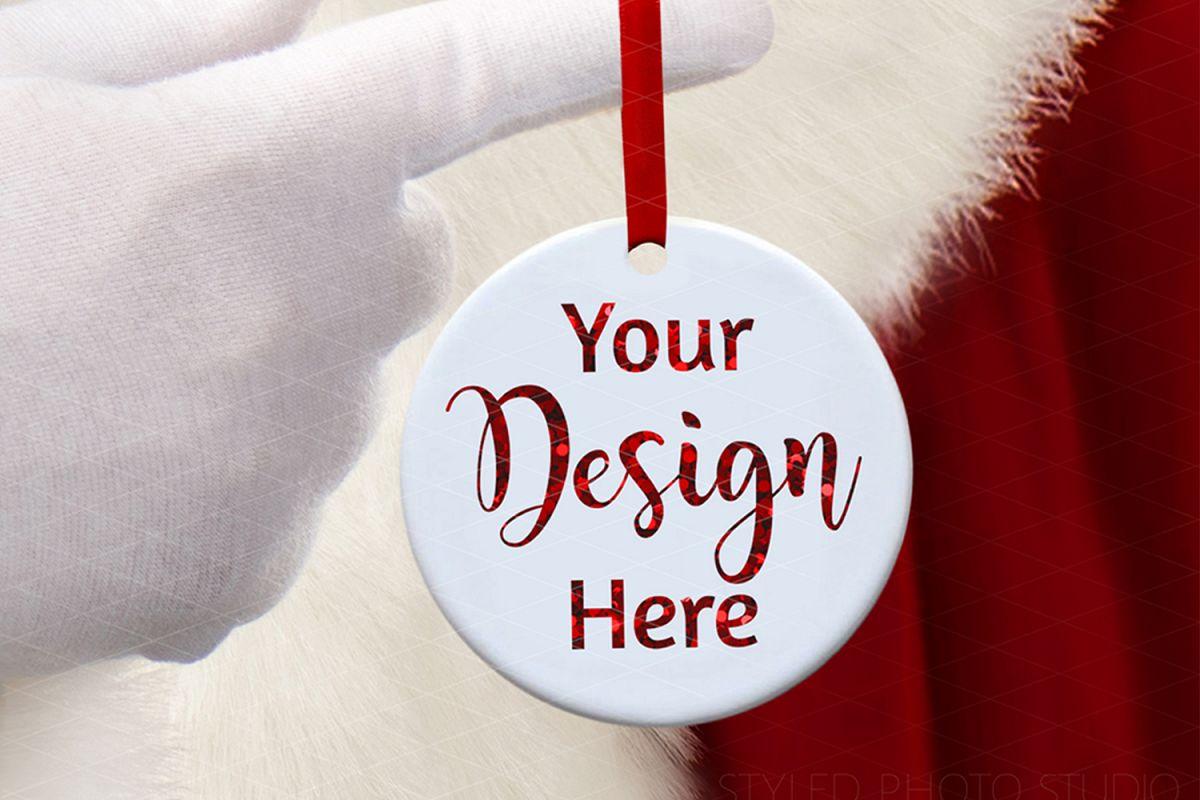 Round Ceramic Christmas Ornament Mockup with Santa Claus example image 1