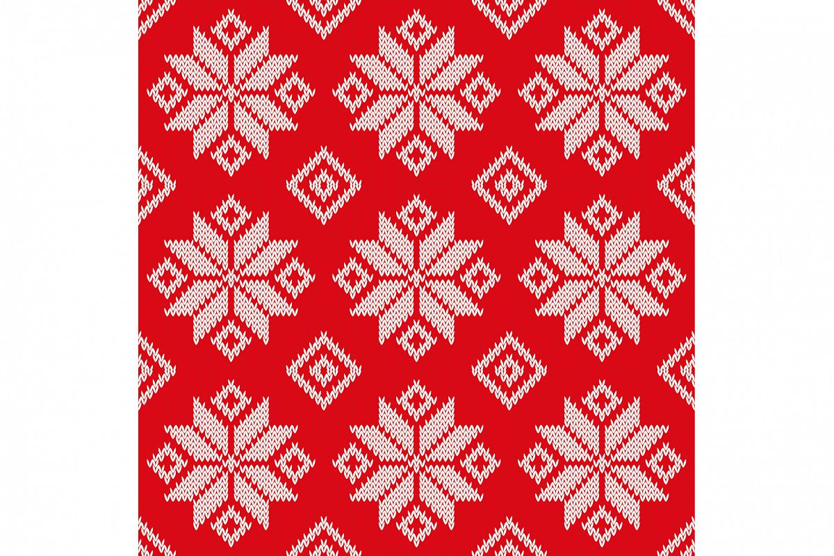 Seamless vector background with Norwegian snowflakes. Print. Cloth design, wallpaper. example image 1