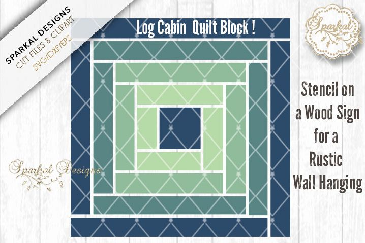 Barn Quilt Block Log Cabin Design example image 1