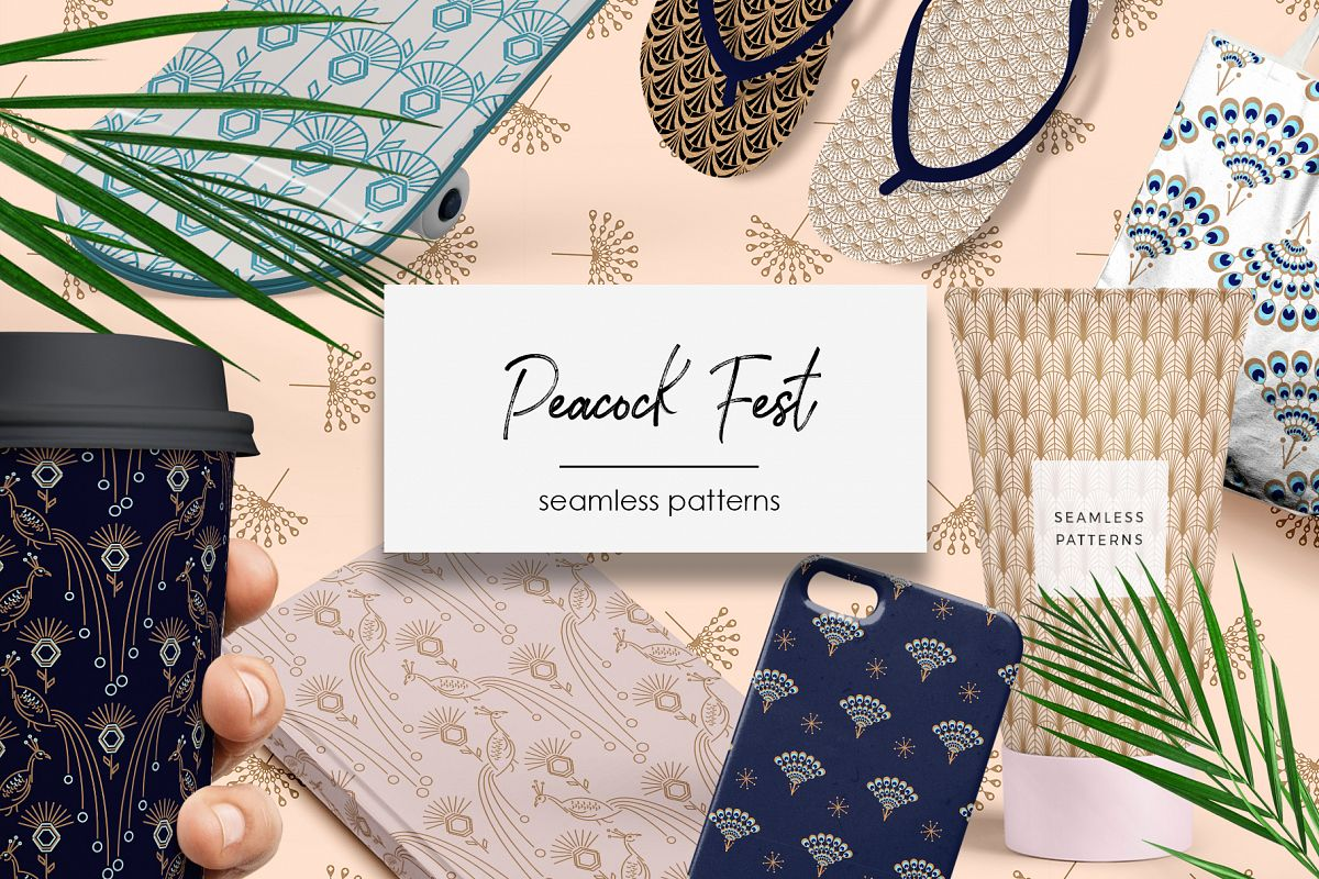 Peacock Fest - Seamless Patterns example image 1
