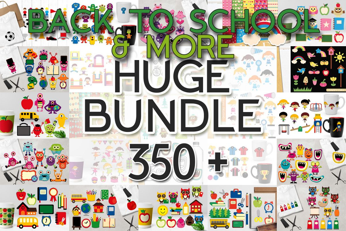Back To School Clip Art Huge Bundle - Over 350 Graphics example image 1