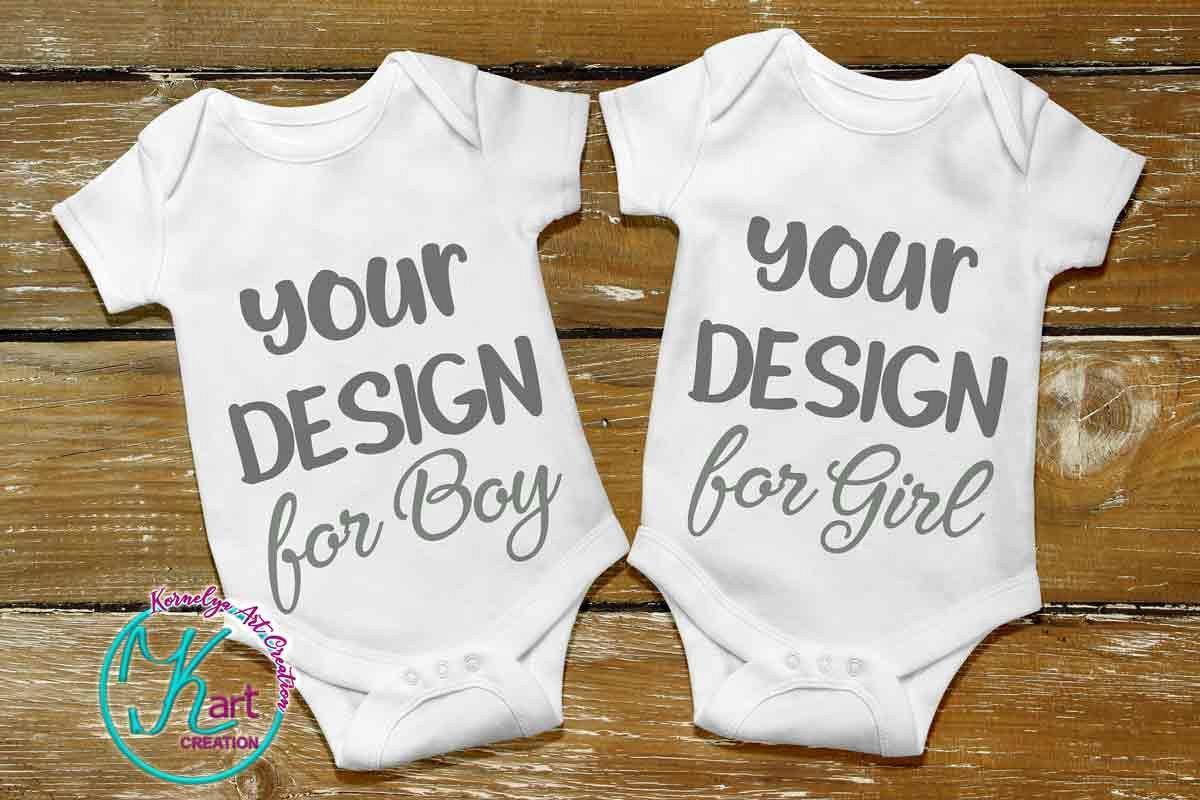 Flat Blank White Baby Mockup, White Baby Bodysuit mock up example image 1