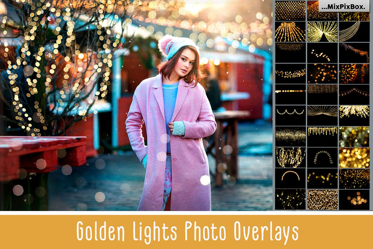 100 Golden Lights Photo Overlays example image 1