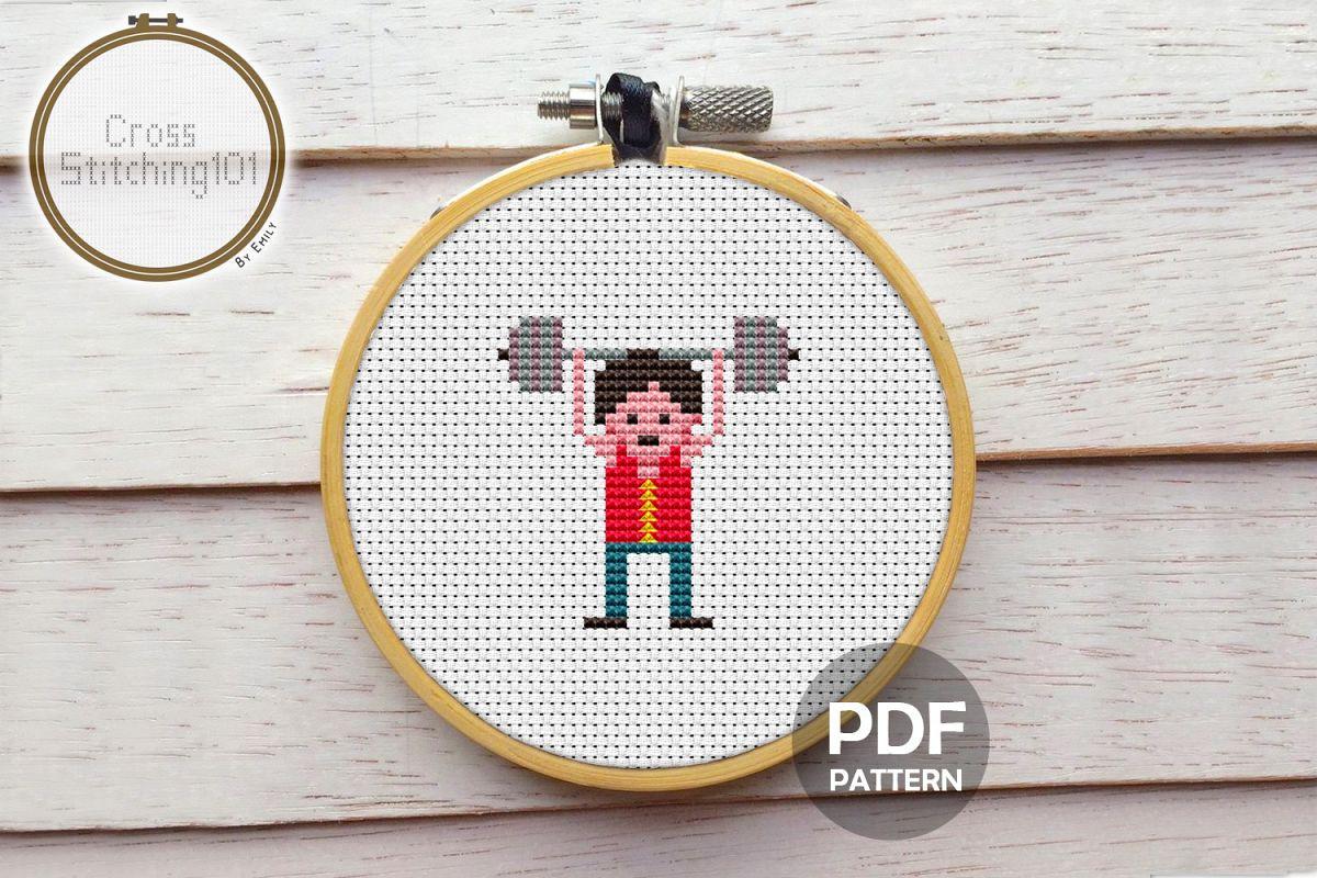 Boy Lifting Weights Cross Stitch Pattern PDF example image 1
