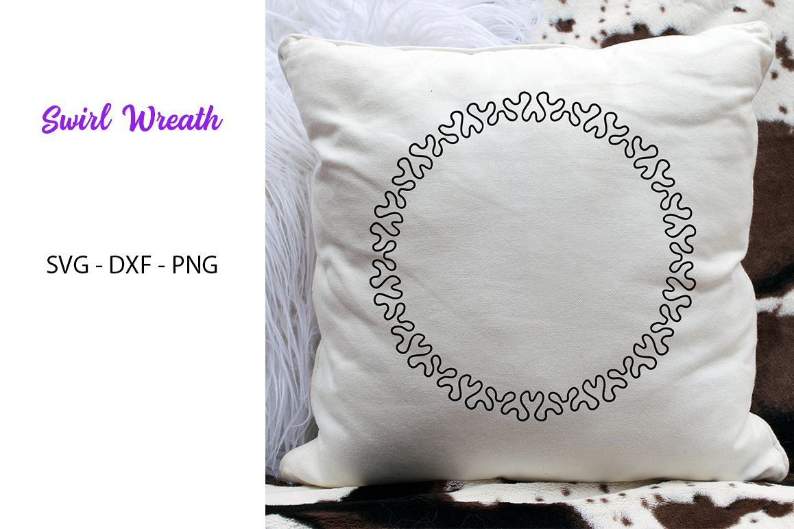 Swirl Wreath- SVG DXF PNG-For Crafters example image 1