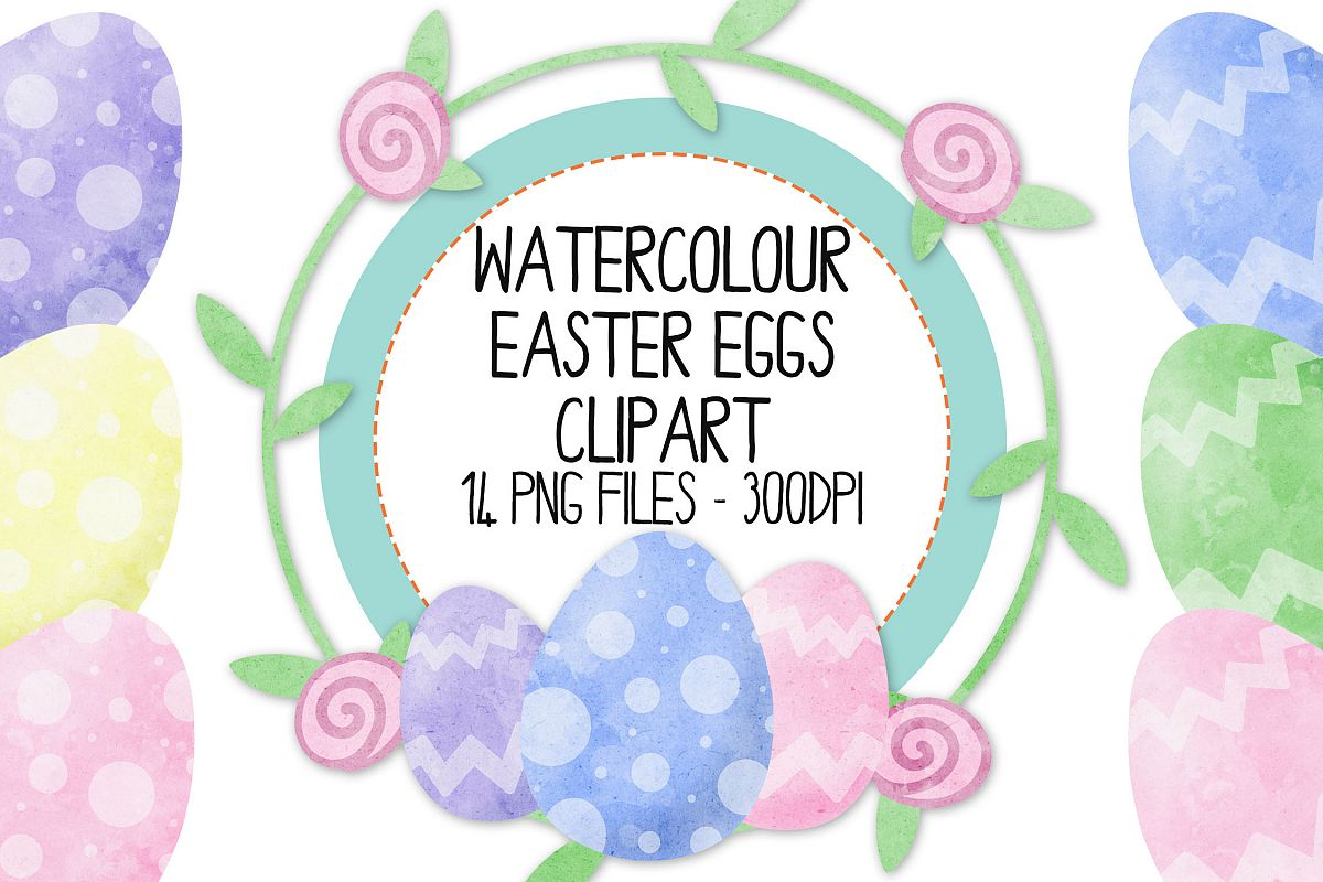 Watercolor Easter Clip Art Set example image 1