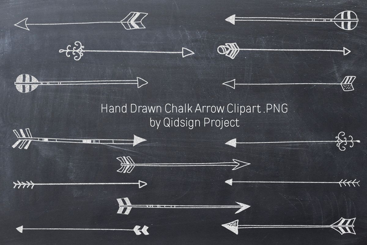 Hand Drawn Chalk Arrow Clipart .PNG example image 1