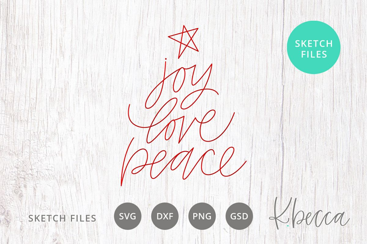 Foil Quill Sketch Joy Love Peace Christmas Tree SVG example image 1