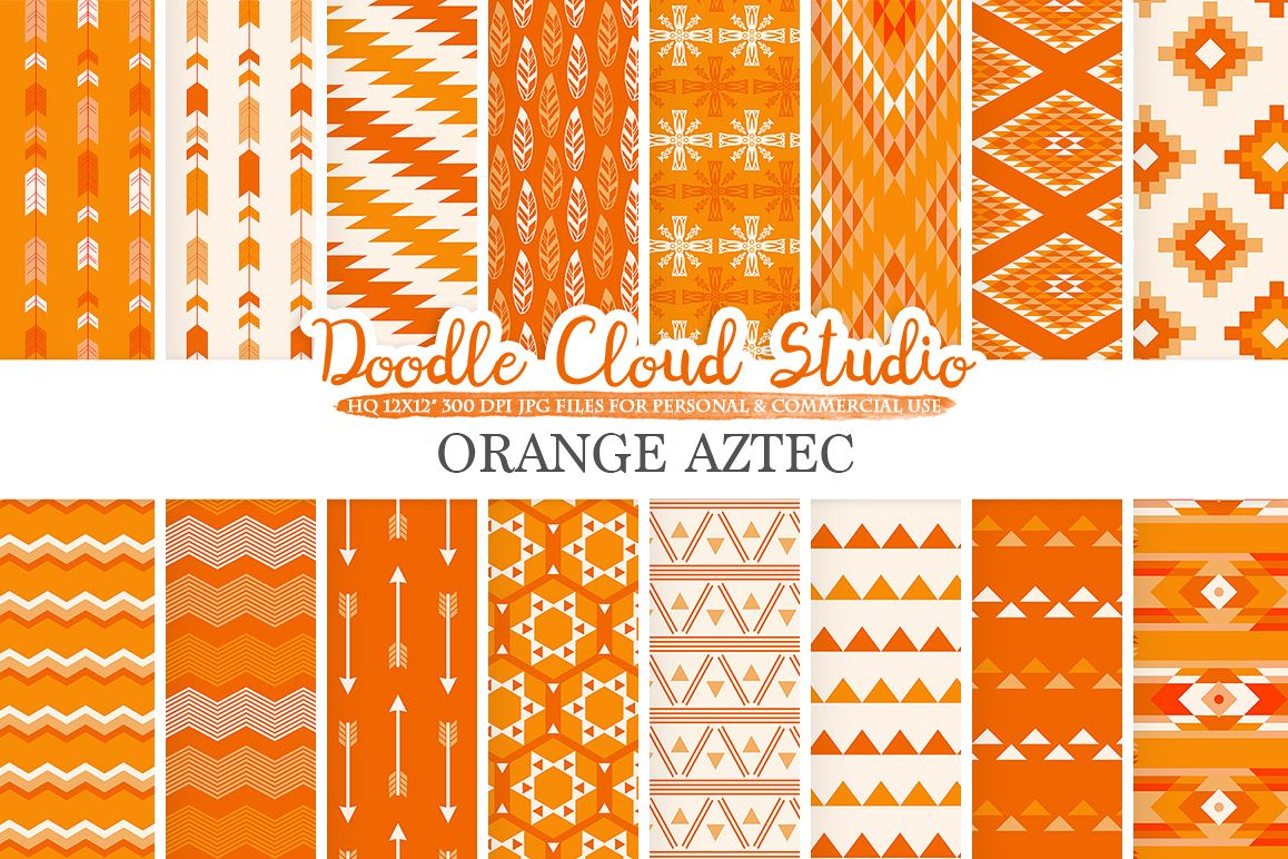 Orange Aztec digital paper Tribal patterns native triangles geometric ethnic arrows background, Instant Download, Personal & Commercial Use example image 1