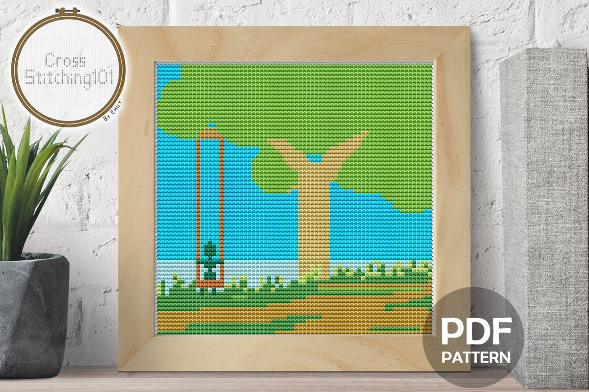 Tree Swing Cross Stitch Pattern - Instant Download PDF example image 1
