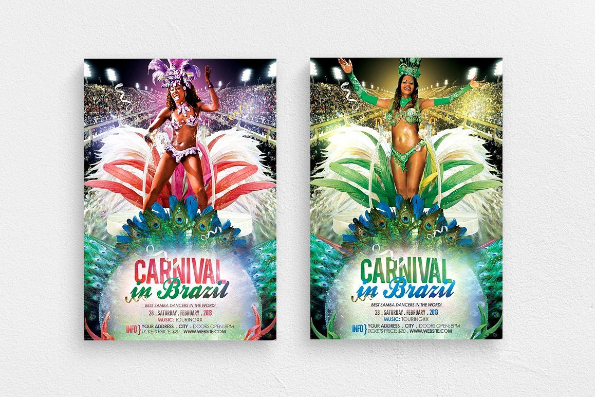 Carnival In Brazil Flyer Template example image 1