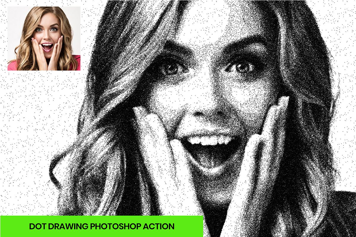 Dot drawing photoshop action example image 1