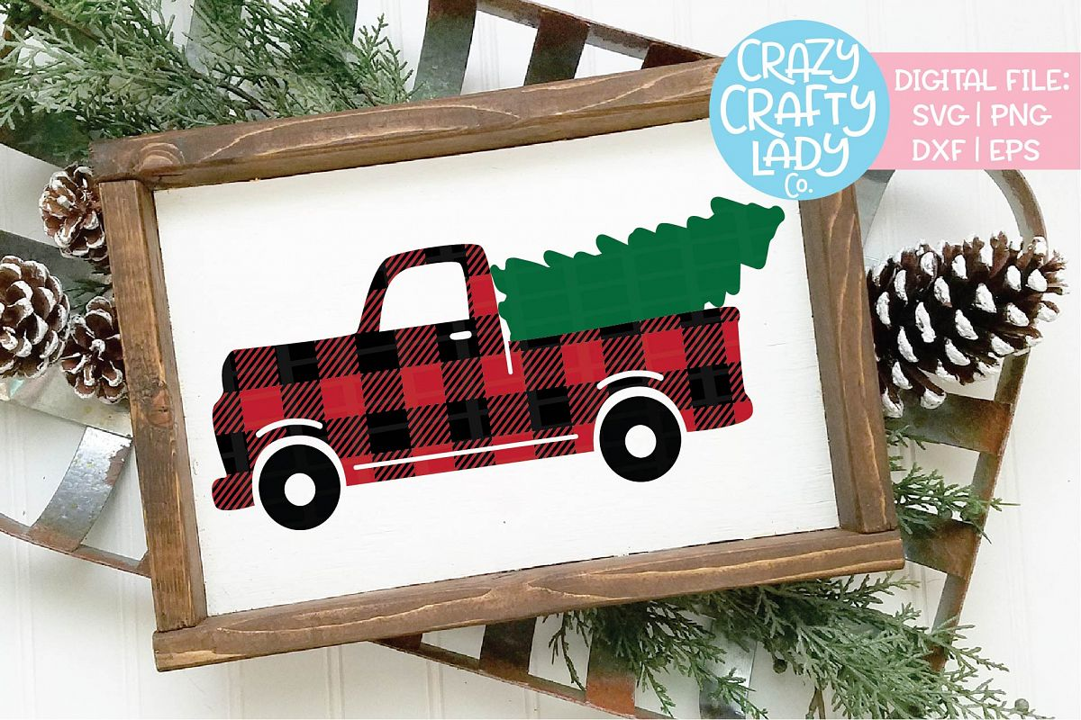 Buffalo Plaid Christmas Tree Truck SVG DXF EPS PNG Cut File example image 1
