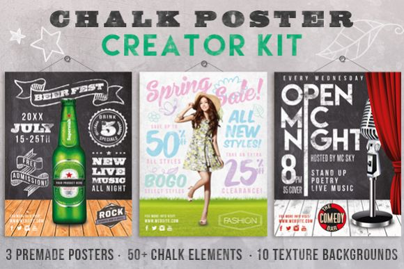 Chalk Poster Ad Creator Kit example image 1