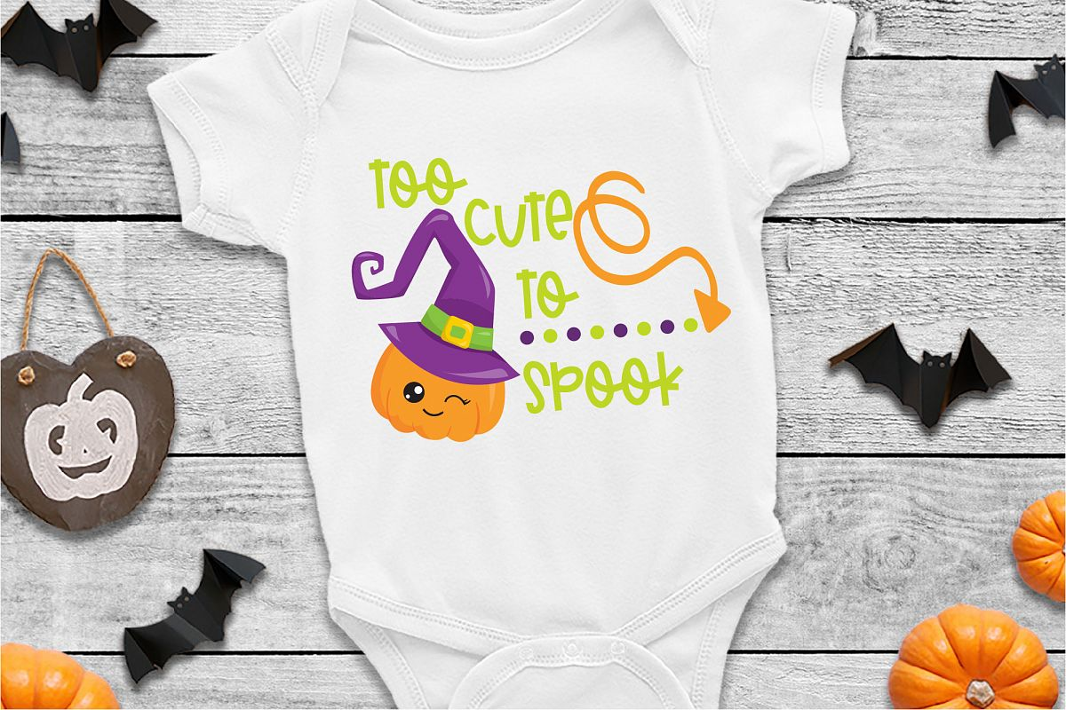 Too Cute To Spook SVG Sublimation, Halloween SVG File example image 1