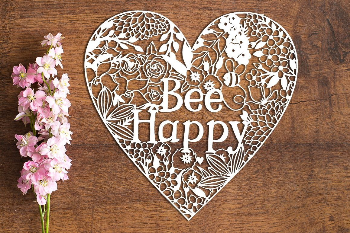 Bee Happy - Paper Cutting Template example image 1