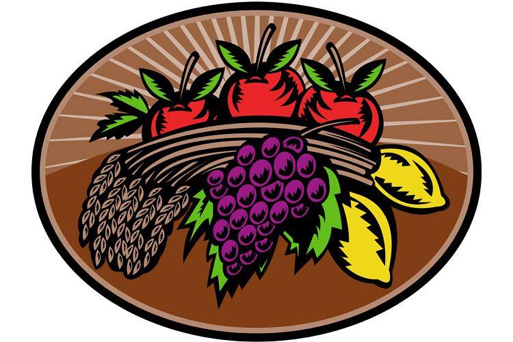 grapes apple lemon wheat bundle woodcut example image 1