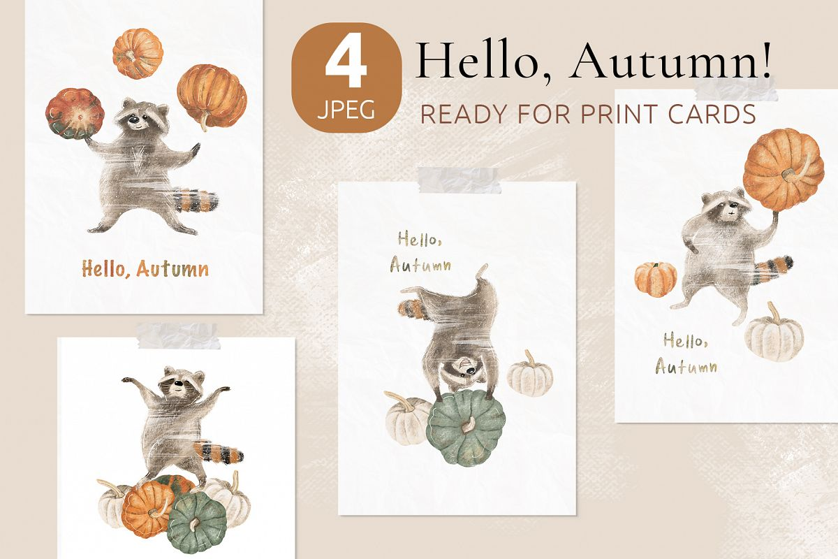 Ready to print autumn posters with cute raccoons and pumpkin example image 1