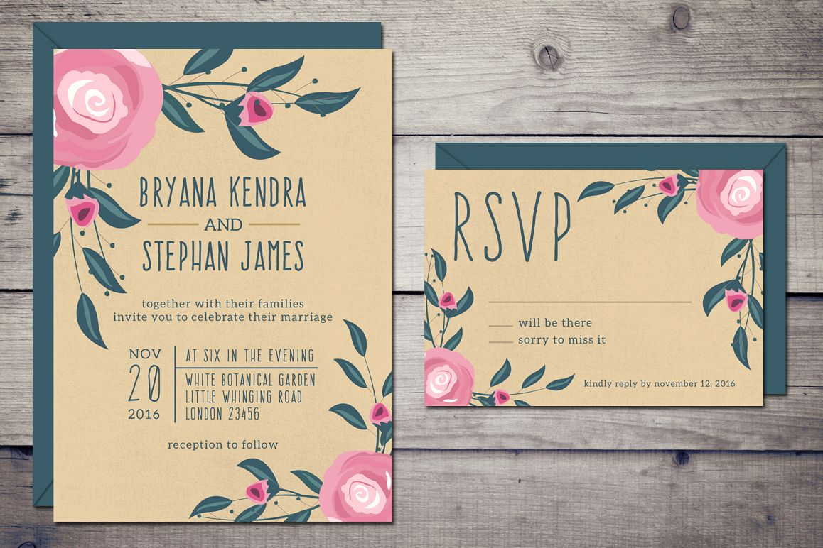 Boho Wedding Invitation & RSVP example image 1