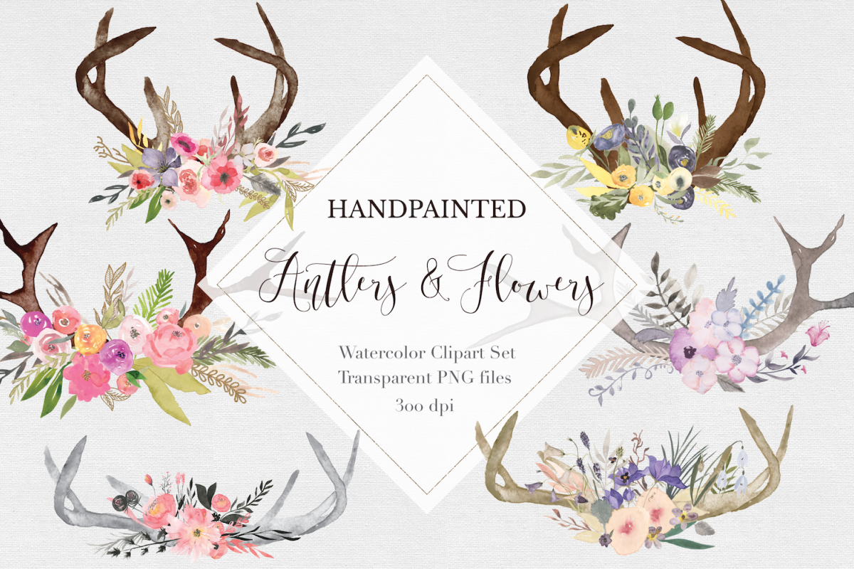 Hand painted Antler Clipart Set example image 1