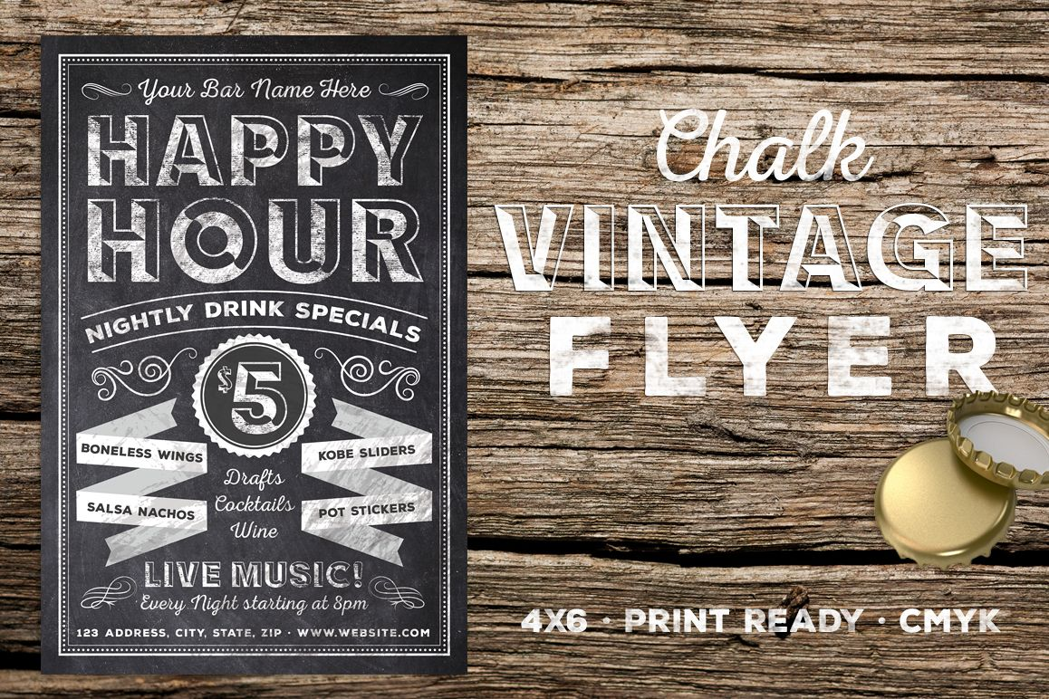 Chalk Vintage Happy Hour Flyer example image 1
