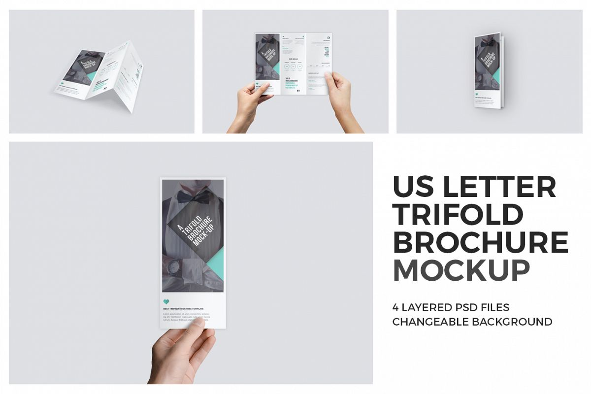 U.S. Letter Trifold Brochure Mock-Up in Hand example image 1