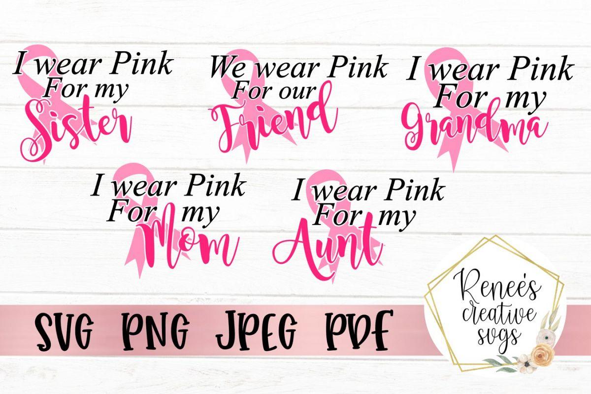 We Wear Pink Bundle|Breast cancer awareness | SVG Cut File example image 1