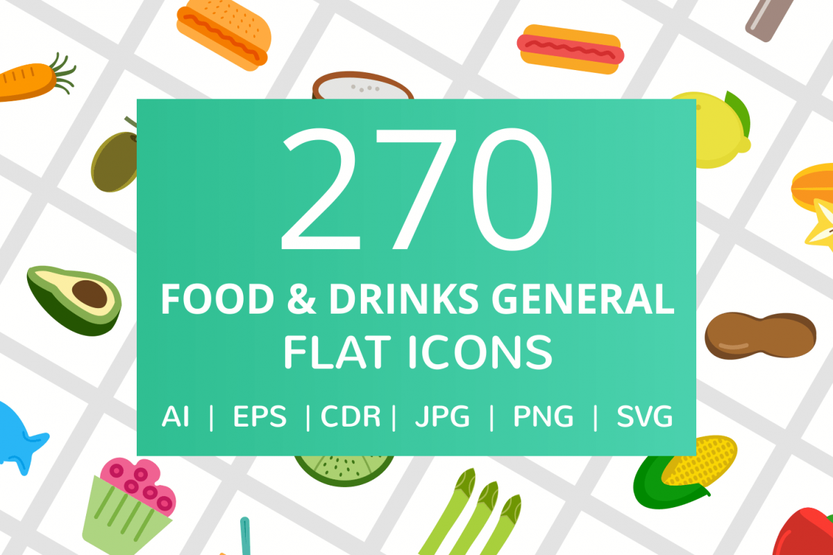 270 Food & Drinks General Flat Icons example image 1