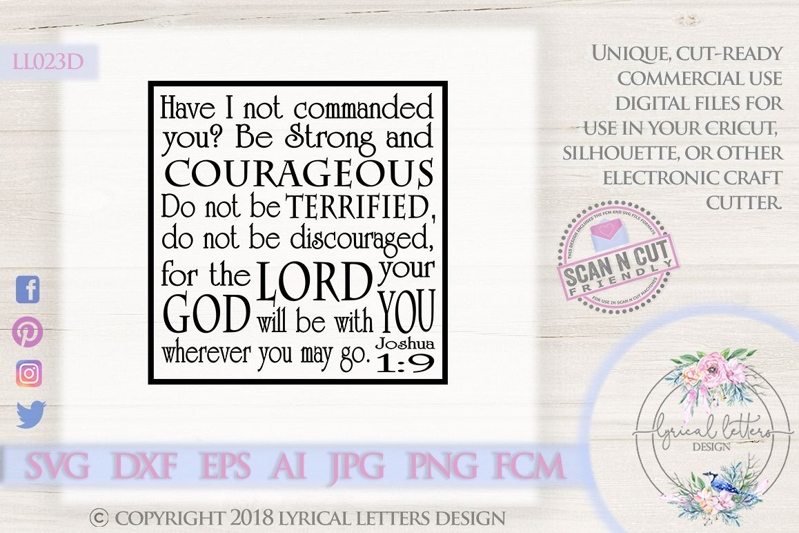 Be Strong and Courageous Joshua 1 SVG DXF LL023D example image 1