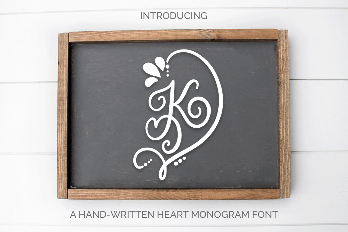 Heart Monogram - A Hand-Written Monogram Font example image 1
