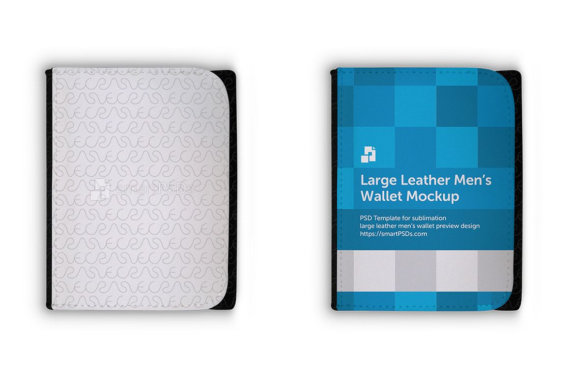 Large Leather Men's Wallet Mockup for Sublimation Preview Design example image 1