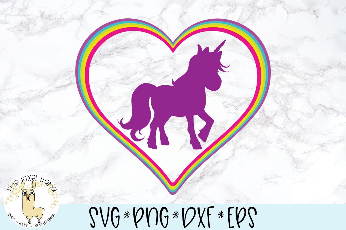 Rainbow Heart Unicorn SVG Cut File example image 1