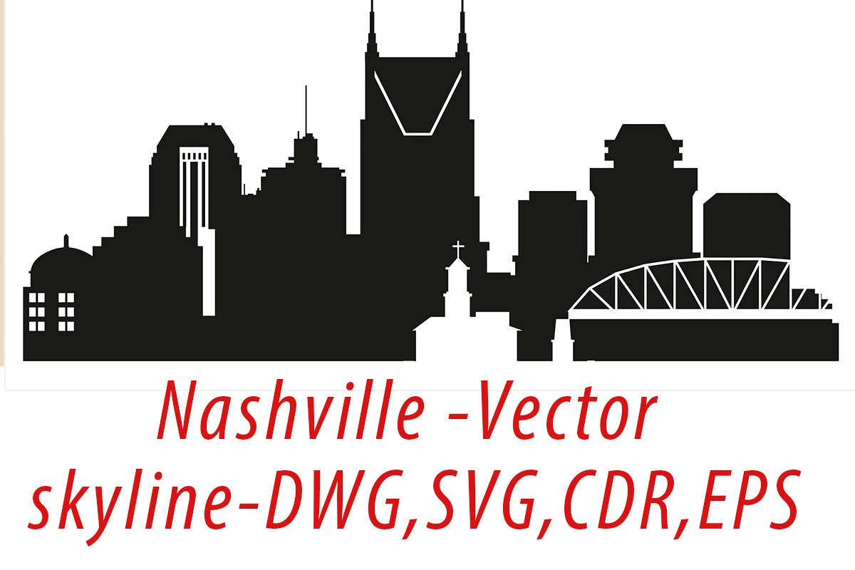 Nashville Vector, Tennessee Skyline USA city, SVG, JPG, PNG, DWG, CDR, EPS, AI example image 1