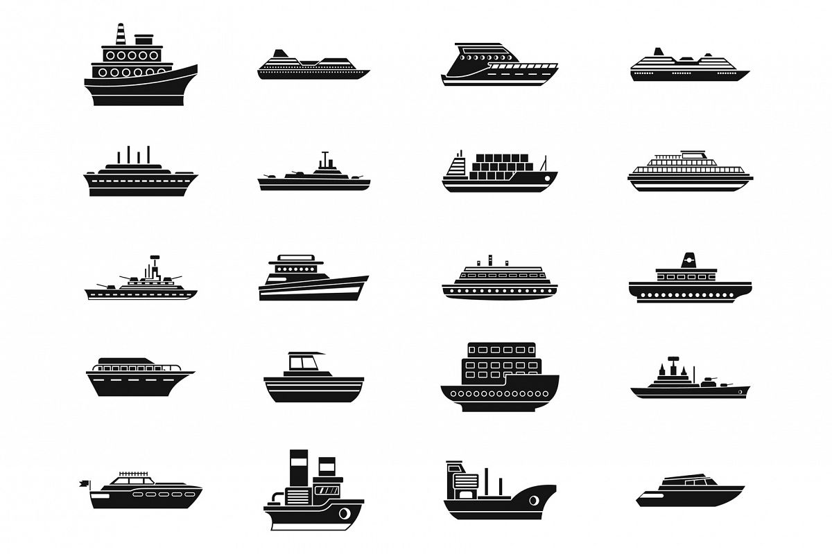 Ship icon set, simple style example image 1
