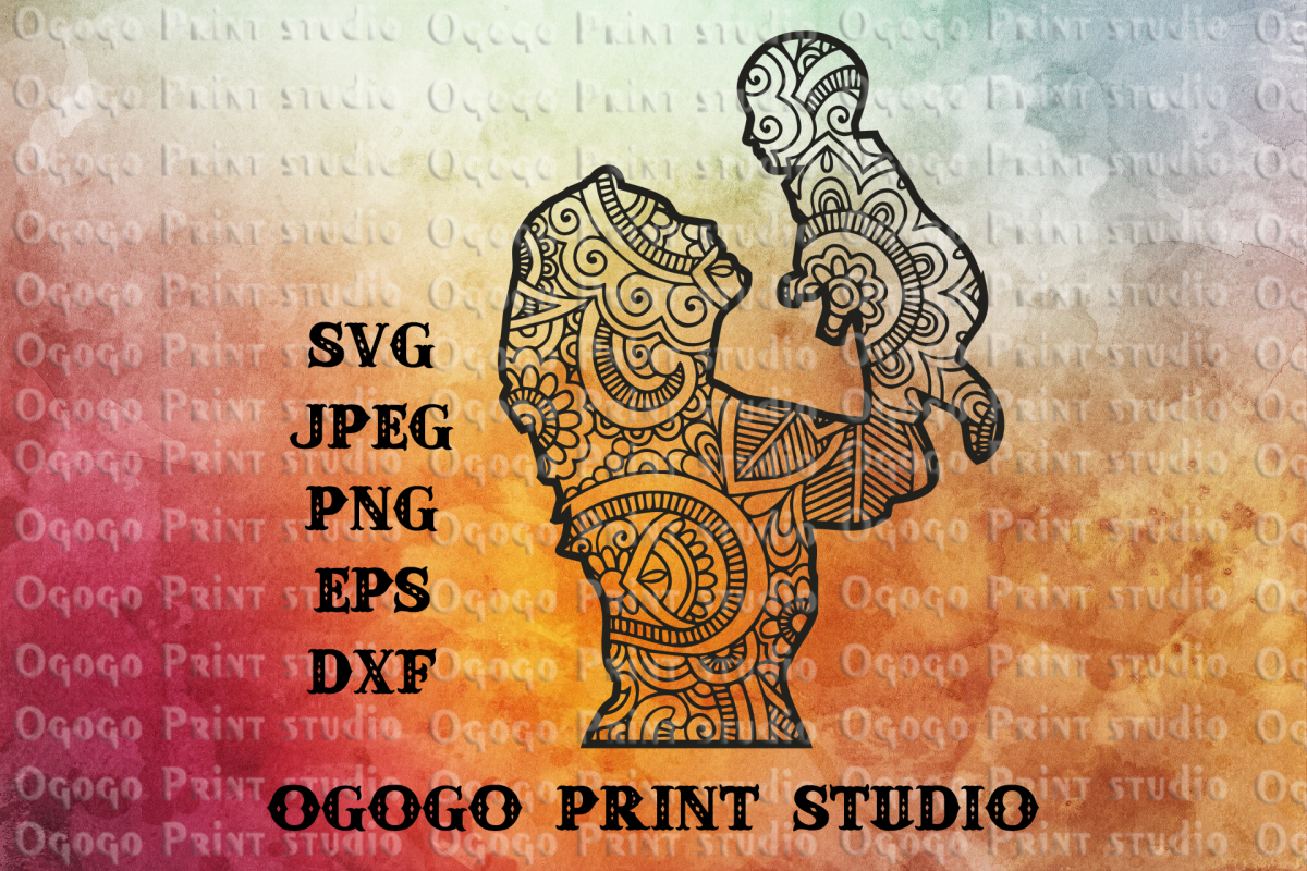 Mother and baby SVG, Zentangle SVG, Mandala svg, Cricut file example image 1