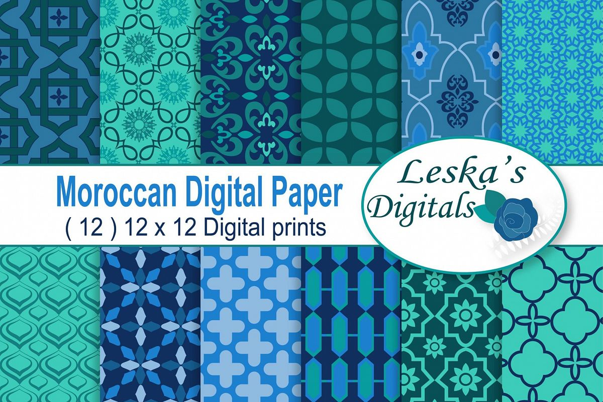 Moroccan Digital Paper Patterns example image 1
