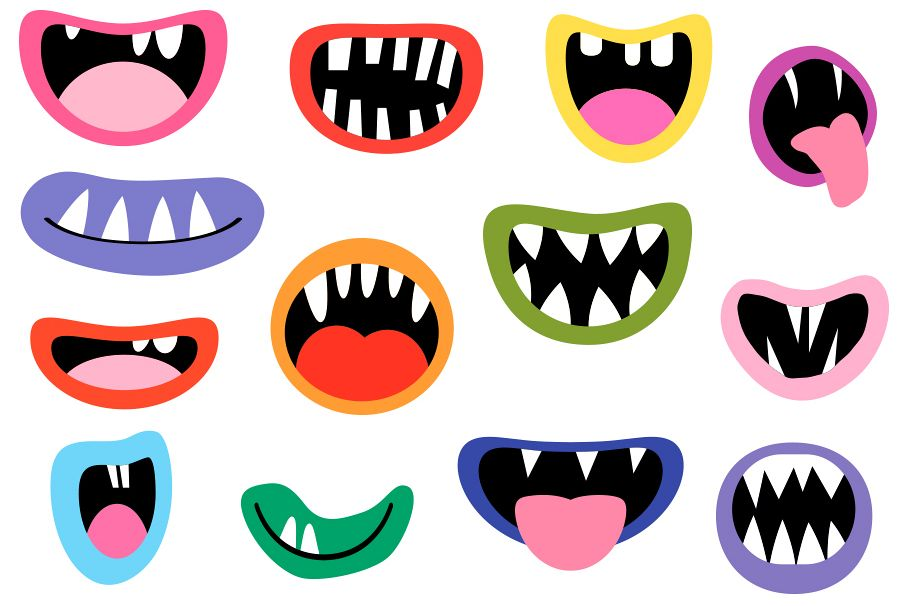 spooky monster mouths clipart halloween teeth lips tongues example image 1
