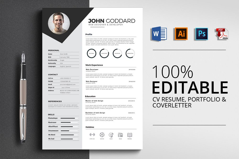 3 Pages Cv Resume Templates example image 1