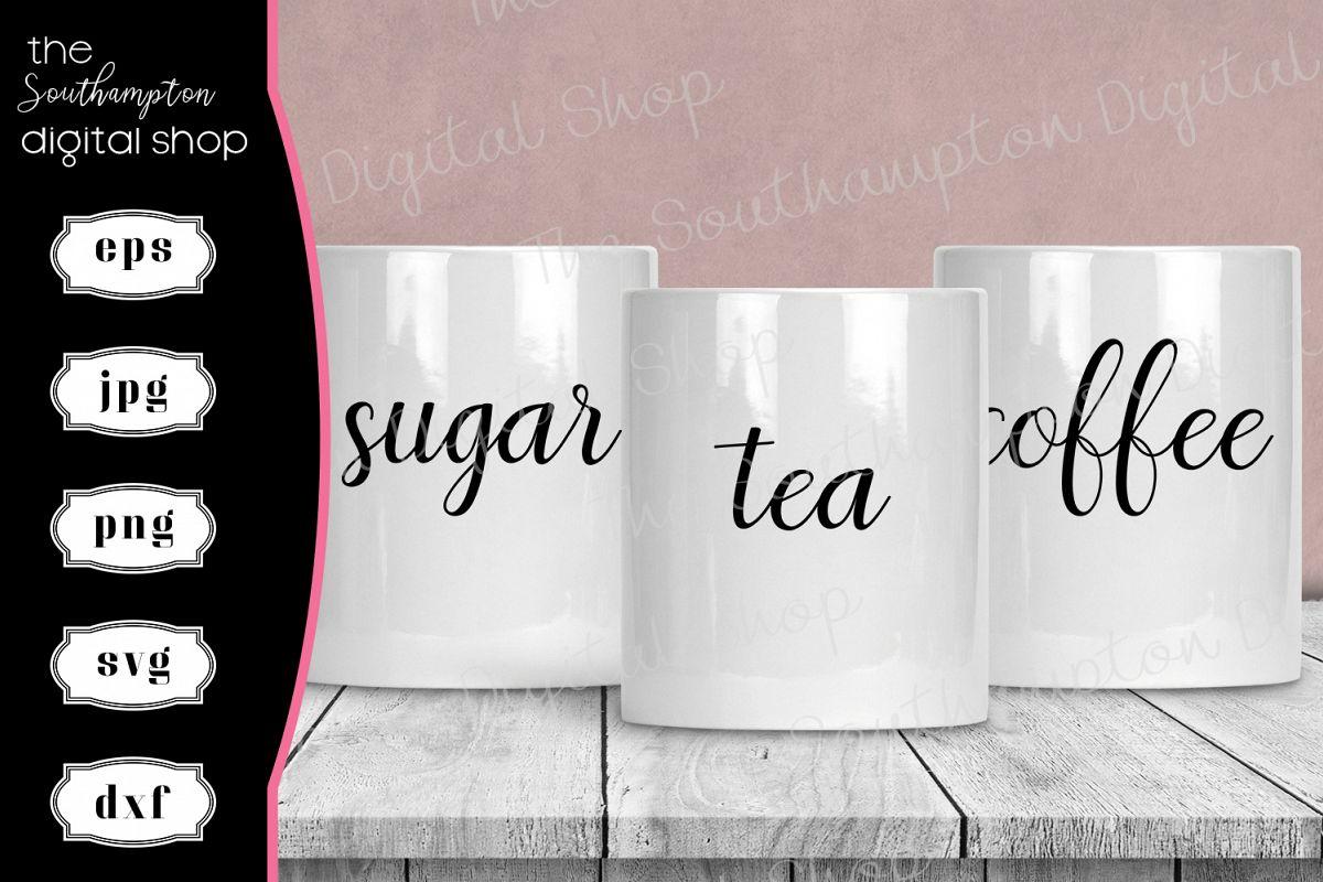 Tea Coffee Sugar Hot Chocolate Creamer Labels V4 example image 1
