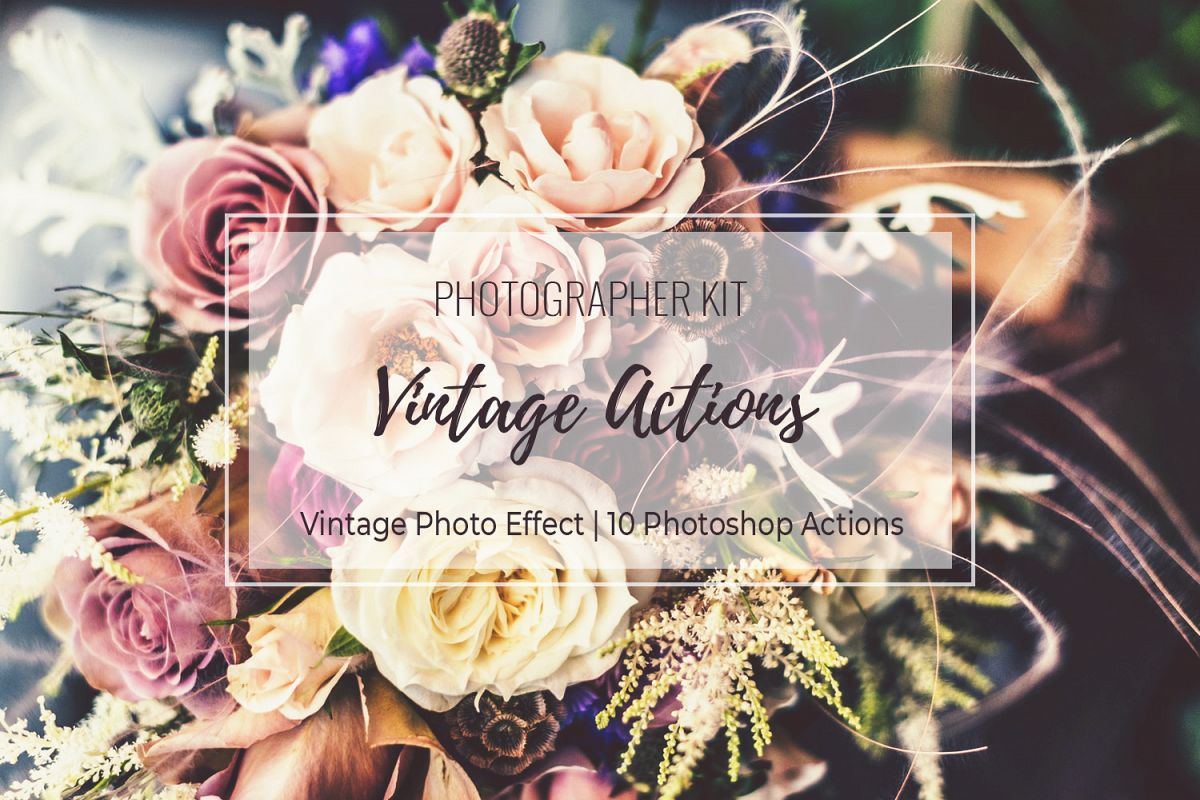 Vintage Photo Effect - 10 PS Actions Kit example image 1