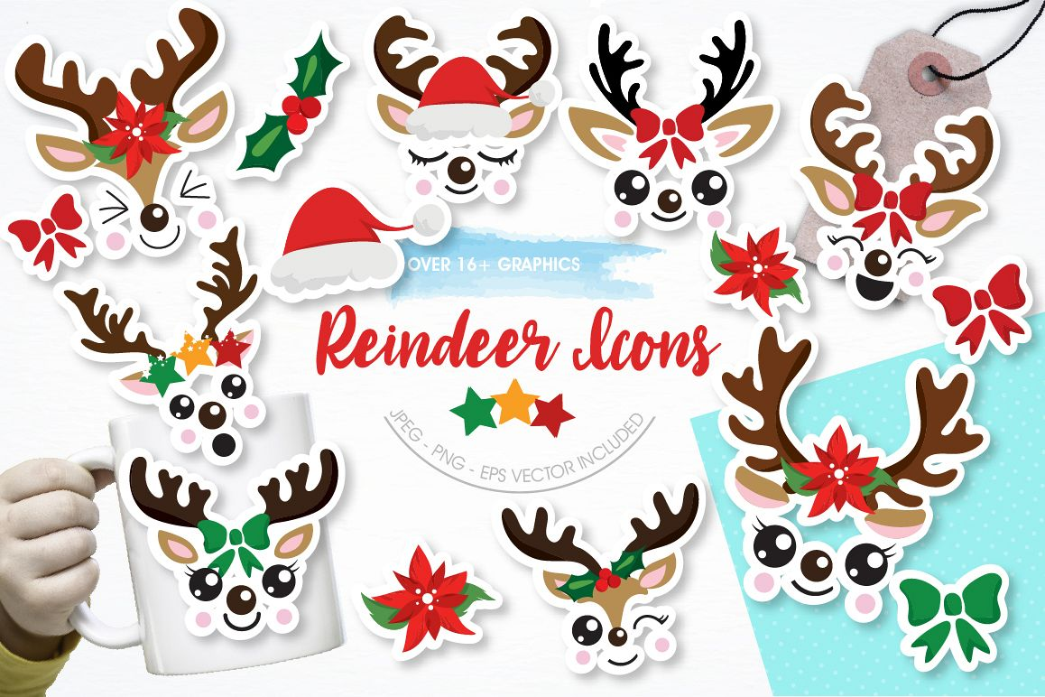 Reindeer icons graphics and illustrations example image 1