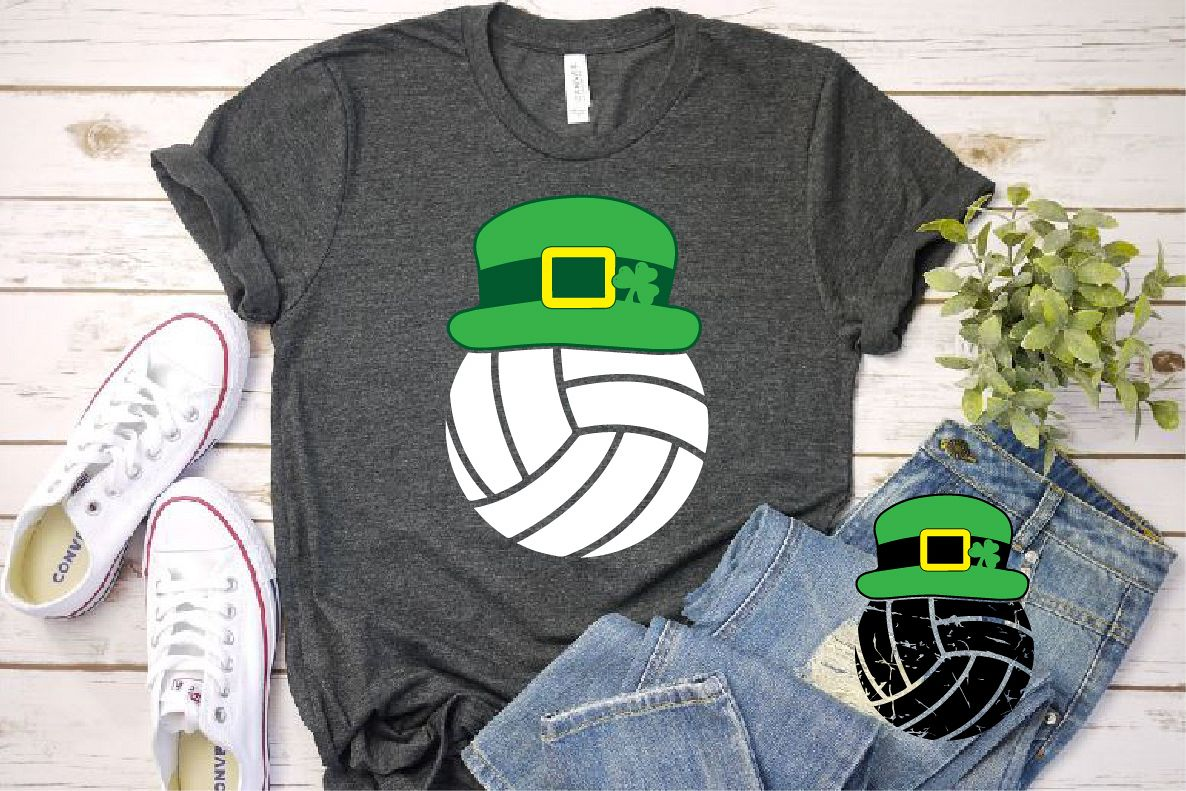 36fbe4eb Volleyball Leprechaun St. Patricks Day SVG Shamrock 1191s example image 1