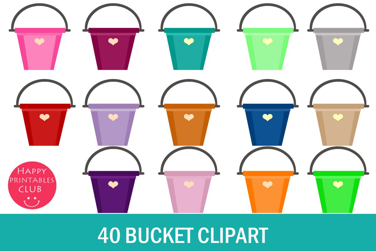40 Bucket Clipart- Rainbow Bucket Clipart- Colorful Buckets example image 1