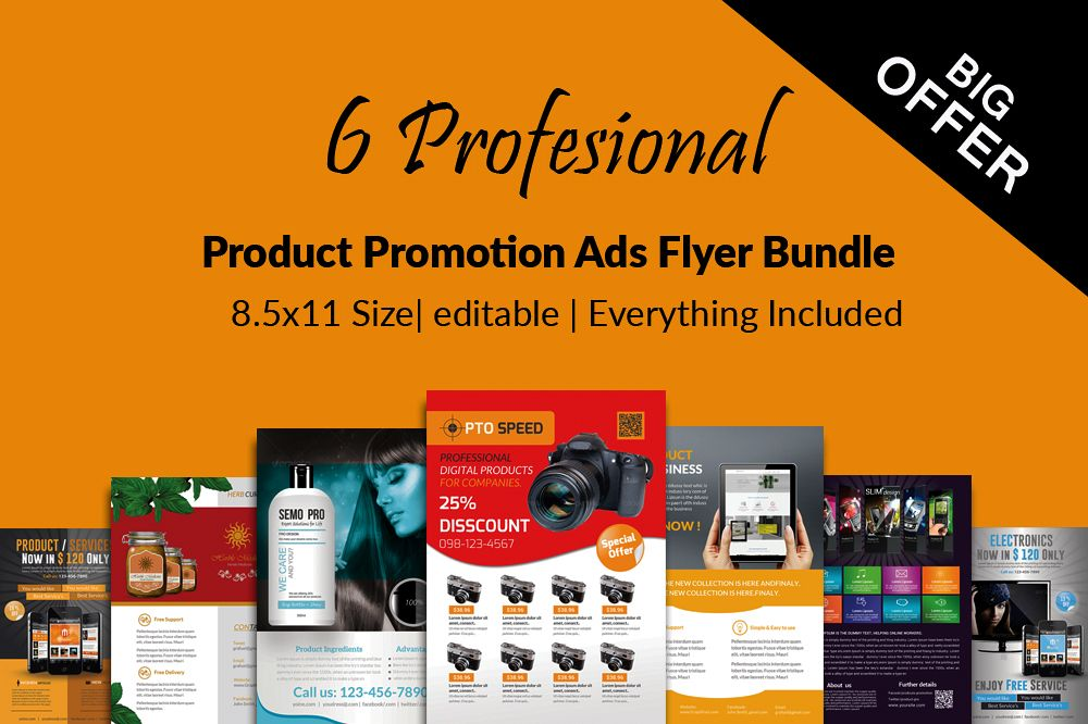 6 Products Promotion Flyers Bundles example image 1