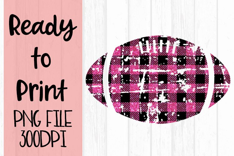 Pink Glitter Buffalo Plaid Football Ready to Print example image 1