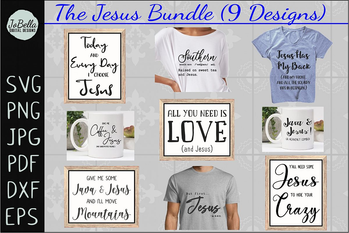 The Jesus SVG Bundle, Sublimation PNGs, and Printables example image 1