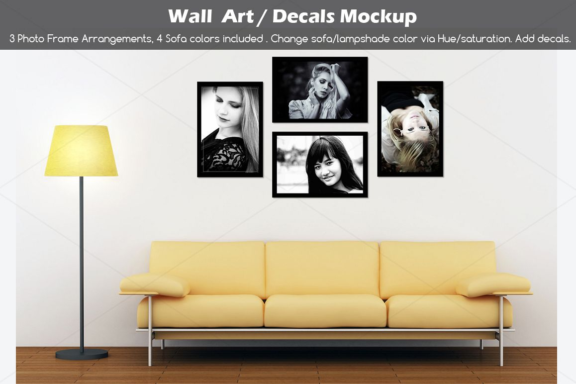 Wall art / decals / poster Mockup v2 example image 1