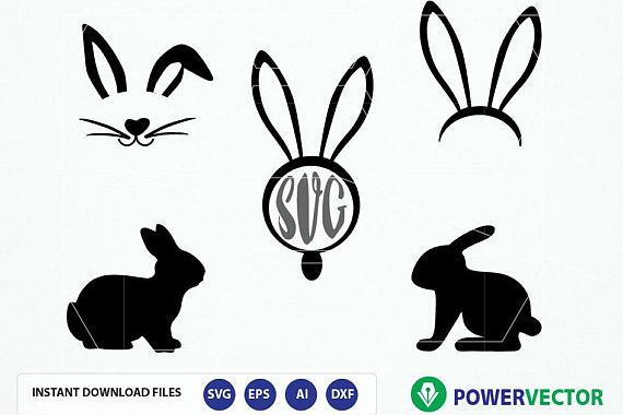 Easter bunny silhouette. Svg files clipart monogram