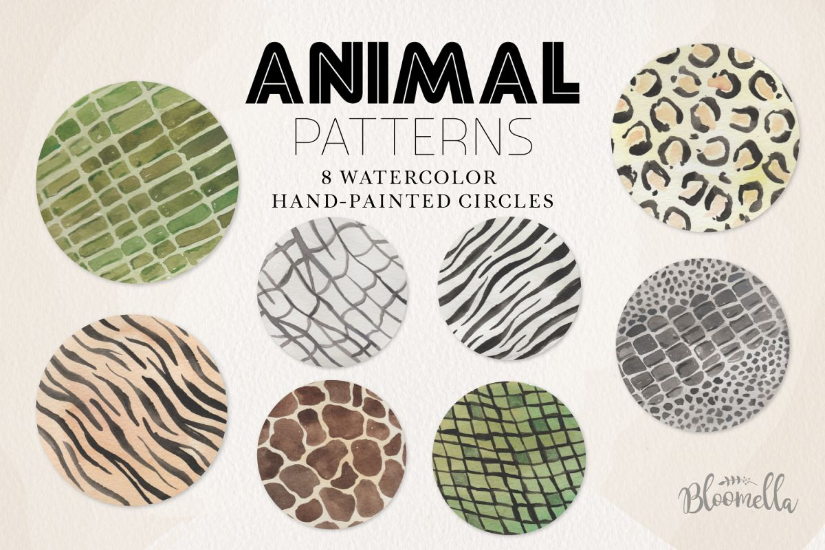 Animal Patterns - Watercolor Hand-Painted Circles example image 1