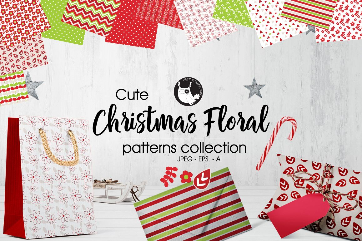 CHRISTMAS-FLORAL , digital papers example image 1